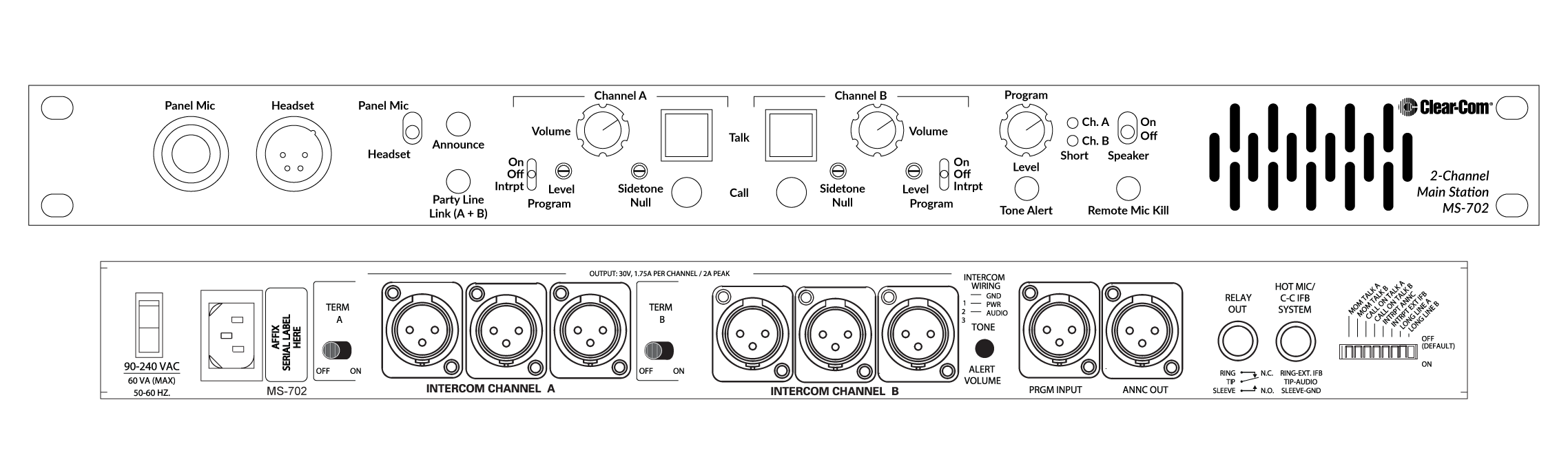 Ms 702 Clear Com Partyline Digital Matrix Ip And Wireless Intercom Circuit Diagram Weight